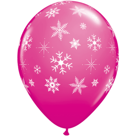 11'' Magenta Wild Berry Latex Snowflake and Sparkle x 25